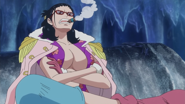Smoker in Tashigi's Body with Cigar One Piece 589 Anime Screenshot
