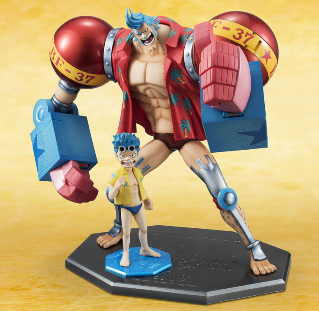 One Piece P.O.P. Franky Maximum & Mild Kid Franky Figure Size Comparison